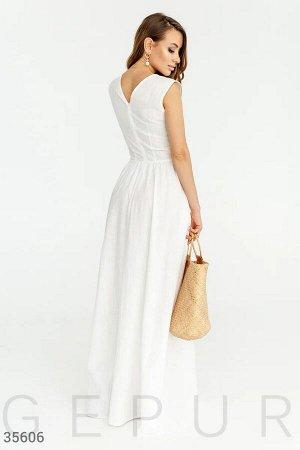 Длинное льняное платье