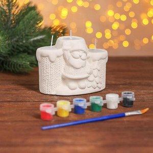 Набор для творч свеча тройная под раскраску «Дед Мороз у ёлки» краски 6 шт. по 3 мл, кисть