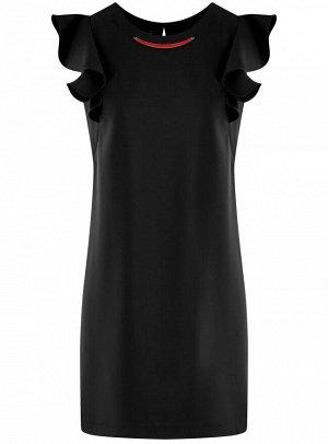 Платье с рукавами-крылышками и украшением на горловине