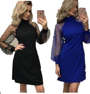 Эффектное платье с бусинками синий и чёрный цвет 42-44-46-48