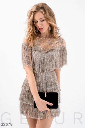 Платье с серебристой бахромой