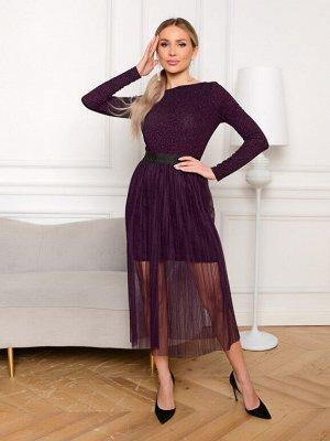 Платье с юбкой гофре цвет черничный