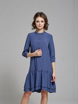 Платье цвет джинсовый с воланом