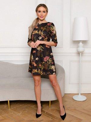 Платье замшевое с цветами