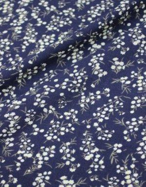 """Штапель """"Весенние цветочки на чернильно--синем"""", ш.1.43м, вискоза-100%, 100гр/м.кв"""