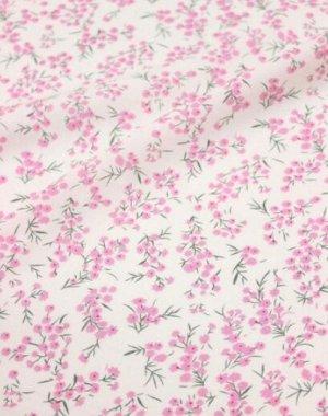 """Штапель """"Весенние розовые цветочки на белом"""", ш.1.44м, вискоза-100%, 100гр/м.кв"""