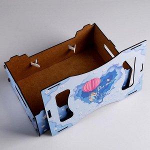 """Подарочный ящик кашпо 30?20?12 см Весна """"Для тебя"""", деревянный, с принтом"""