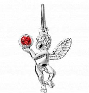 Образ (Ангел) из серебра литье с фианитом гранат