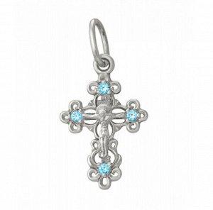 Крест из серебра литье с камнем родированный