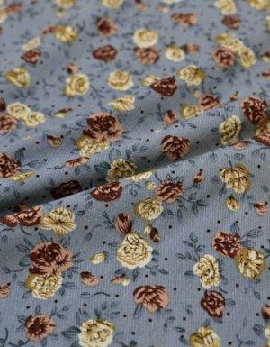 """Плательная вискоза """"Винтажные розочки"""" цв.серо-голубой, ВИД2, ш.1.45м, вискоза-100%, пл.145гр/м.кв"""