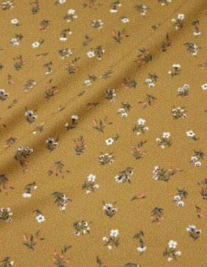 """Плательная вискоза """"Весенние букетики на карамельно-коричневом"""", ш.1.45м, вискоза-100%, 145гр/м.кв"""