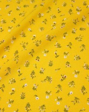 "Плательная вискоза ""Весенние букетики на желтом"", ш.1.45м, вискоза-100%, пл.145гр/м.кв"
