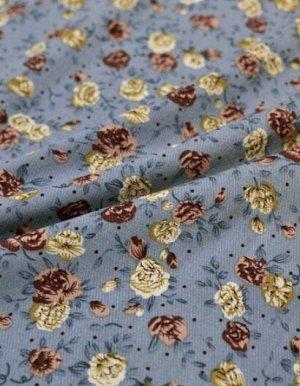 "Плательная вискоза ""Винтажные розочки"" цв.серо-голубой, ш.1.45м, вискоза-100%, пл.145гр/м.кв"