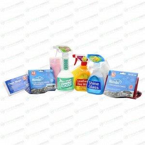 Набор автокосметики Kolibriya №36 Стандарт, для ухода за салоном автомобиля (полироль, очистители стекол и салона, салфетки, губка), бутылка с триггером 500+250+250мл, арт. 0903