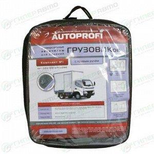 Чехлы AUTOPROFI GRU на грузовики среднего класса с правым рулём, для передних сидений, жаккард, серый цвет, 5 предметов