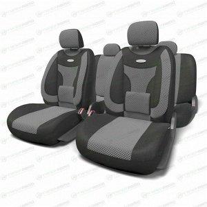 Чехлы AUTOPROFI EXTRACOMFORT для передних и задних сидений, велюр, черный/серый цвет, 11 предметов