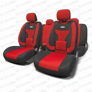 Чехлы AUTOPROFI EXTRACOMFORT для передних и задних сидений, велюр, черный/красный цвет, 11 предметов