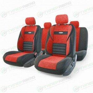 Чехлы AUTOPROFI COMFORT COMBO для передних и задних сидений, велюр, черный/красный цвет, 11 предметов
