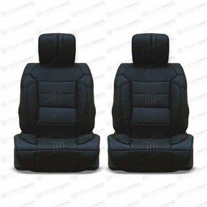 Чехлы-накидки CARFORT PREMIER для передних сидений, экокожа, черный цвет, комплект 2шт