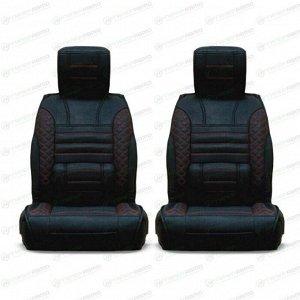Чехлы-накидки CARFORT PREMIER для передних сидений, экокожа, черный/красный цвет, комплект 2шт
