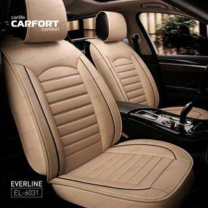 Чехлы CARFORT EVERLINE для передних сидений и заднего дивана, экокожа, бежевый цвет, комплект 3шт