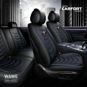 Чехлы CARFORT WAVE для передних сидений и заднего дивана, экокожа, черный цвет, комплект 3шт