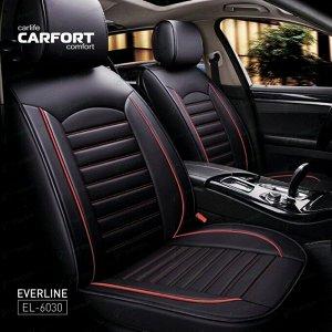 Чехлы CARFORT EVERLINE для передних сидений и заднего дивана, экокожа, черный/красный цвет, комплект 3шт