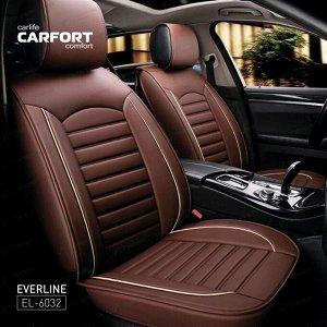 Чехлы CARFORT EVERLINE для передних сидений и заднего дивана, экокожа, коричневый цвет, комплект 3шт
