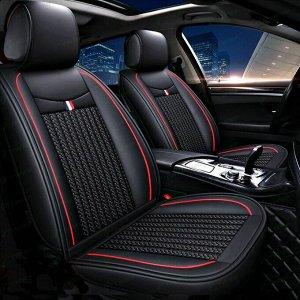 Чехлы-накидки CARFORT Inspired для передних и задних сидений, экокожа с рельефным текстилем, черный цвет, комплект
