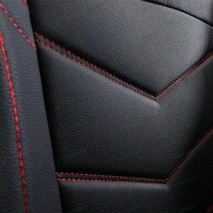 Чехлы-накидки CARFORT Wave 3 для передних и задних сидений, экокожа, черный цвет с красной прострочкой, комплект