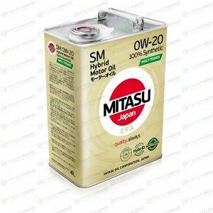 Масло моторное Mitasu Hybrid Moly-Trimer 0w20 синтетическое, SM/GF-4, ACEA A1/B1, для бензинового двигателя, 4л, арт. MJ-M02/4