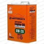 Масло моторное Autobacs Engine Oil 0w20 синтетическое, SN/GF-5, для бензинового двигателя, 4л, арт. A01508395