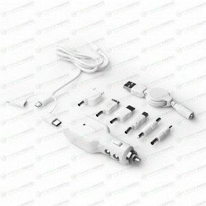 """Зарядное устройство в прикуриватель """"CarFort"""" 12-24v, 5V, USB, с набором адапт (Lightning, micro) БЕЛОЕ"""