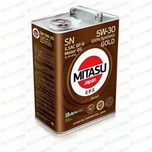 Масло моторное Mitasu Gold 5w30 синтетическое, SN/GF-5, для бензинового двигателя, 4л, арт. MJ-101/4