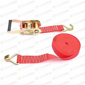Стяжка для груза Carfort, строп лента, с храповым механизмом, крюки, нагрузка до 3т, размер 45мм x 10м, арт. CF-2502