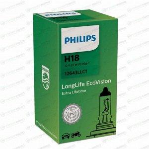 Лампа галогенная Philips LongLife EcoVision H18 (PY26d-1, T11), 12В, 65Вт, 3200К, 1 шт