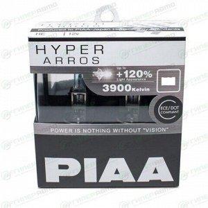 Лампа галогенная PIAA Hyper Arros H11 (PGJ19-2, T11), 12В, 55Вт (соответствует 100Вт), 3900К, комплект 2 шт