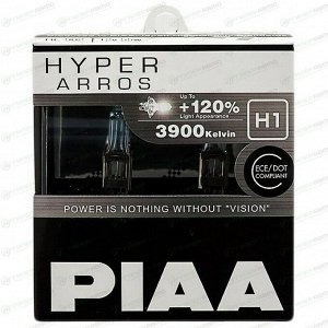 Лампа галогенная PIAA Hyper Arros H1 (P14.5s, T8), 12В, 55Вт (соответствует 100Вт), 3900К, комплект 2 шт