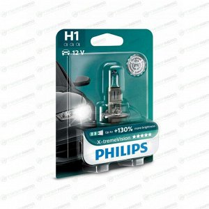 Лампа галогенная Philips X-TremeVision H1 (P14.5s, T8), 12В, 55Вт, 3500К, 1 шт