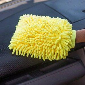 Рукавица Kolibriya Splend-7, для удаления пыли и полировки, из микрофибры, желтая, арт. Nim-013. yel