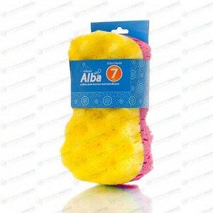 Губка Kolibriya Alba-7, для мытья автомобиля, поролон, комбинированная с рифлением, 215х115х75мм, жёлто-розовая, арт. AL-0012