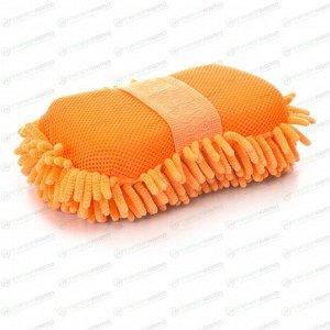Губка Kolibriya Splend-1, для удаления пыли и полировки, поролон и микрофибра, оранжевая, арт. SD-0214. ylo