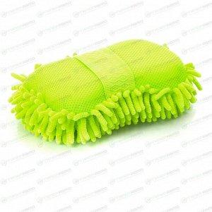 Губка Kolibriya Splend-2, для удаления пыли и полировки, поролон и микрофибра, зелёная, арт. SD-0214. grn