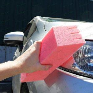 Губка Kolibriya Alba-1, для мытья автомобилей, для труднодоступных мест, поролон, 205х95х65мм, розовая, арт. AL-0231