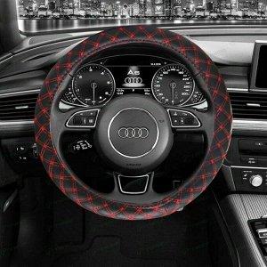 Оплетка на руль CARFORT DIAMOND, кожа, черный/красный цвет, размер M (37-39см)