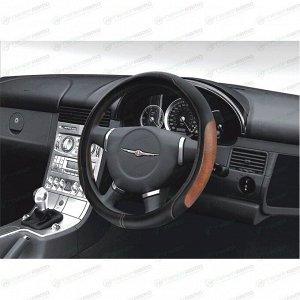Оплетка на руль CARFORT SKIN, кожа, черный/коричневый цвет, размер M (37-39см)