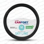 Оплетка на руль CARFORT SKY LINE с перфорацией, кожа, черный цвет, размер M (37-39см)