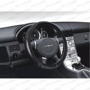 Оплетка на руль CARFORT SKIN с прострочкой, кожа, черный цвет, размер M (37-39см)