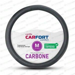 Оплетка на руль CARFORT CARBONE, черный цвет, размер M (37-39см)