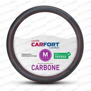 Оплетка на руль CARFORT CARBONE, черный/красный цвет, размер M (37-39см)